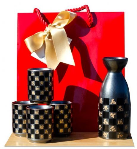 Gift bag - Chequered Sake set metallic black - Japanese 4 cups